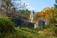 In Standard Time (Chancy Rendezvous) Tags: chancyrendezvous davelawler blurgasm landscape osv oldsturbridge sturbridge village meetinghouse steeple trees foliage leaves fall autumn house outhouse osvorg branches lawler