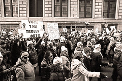 Vote the Trolls Out! (kirstiecat) Tags: vote voting votersrights humanrights womensrights democracy america chicago monochrome monochromemonday politics liberal impeachtrump traitortrump collusion mueller trumprussia people blackandwhite noiretblanc protest signs resist resistfascism
