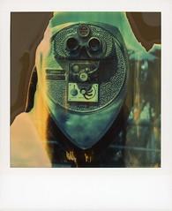 Coit Tower Binocular (tobysx70) Tags: polaroid sx70 timezero time zero tz expired instant film 0404 roidweek roid week polaroidweek fall autumn october 2018 coit tower binocular san francisco california ca optical company 25¢ quarters only turn clear vision flames divot polawalk polavacation 042618 day6 toby hancock photography