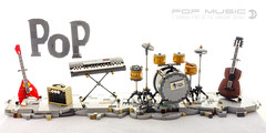 Pop Music (dvdliu) Tags: music instrument classical guitar electric amp amplifier keyboard piano drum set lego moc pop rock roll