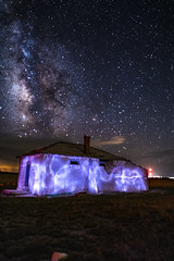 Rattlesnake Butte School (Tom Herlyck) Tags: amazing beautiful colorado decaying easterncolorado flickr greatamericandesert highplains light milkyway neglected old prairie sky usa weather abandoned blue decay huerfanocounty camera landscape night outdoors lightpainted