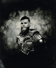 Loïc Collodion portrait ([Eric OLIVIER]) Tags: portrait largeformat photography cosplayer cosplay nightcold armor wetplate collodion process alternativ blackandwhite noiretblanc analog notdigital monochrom diy film
