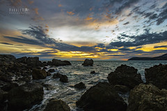 Windy Sunset (Paralex photography) Tags: sunset sky orange color blue sun clouds sea adriatica adriaticsea montenegro crnagora view nature sunny beautiful horizon amazing rocks ocean rock water calm calmness twilight landscape surf