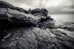 time is a slippery thing (Port View) Tags: fujixe3 scotsbay novascotia ns canada cans2s 2018 summer tide tidal rocks rocky basalt erosion wear clouds light coast coastal shore fundy bayoffundy longexposure le monochrome mono blackandwhite bw laowa9mm landscape seascape