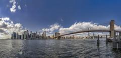 Empire City (tomas.jezek) Tags: nyc newyork usa cityscape river bridge manhattan brooklyn brooklynbridge downtown sky clouds panorama wide wideangle gotham empirecity cityofdreams summer sunny