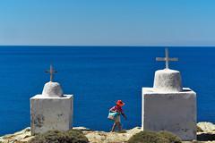 Orange hat (andrferrr) Tags: greece summer folegandros landscape sea seaside orange hat orangehat