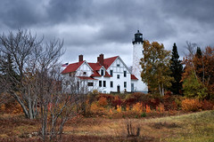 point iroquois lighthouse (twurdemann) Tags: 06ndsoftgrad architecture autumn baymills capecodstyle chippewacounty clouds fall2018 fallcolor fallcolour gnd2s hiawathanationalforest lakesuperior landscape leeseven5 lighthouse michigan nadouenigoning northernmichigan ojibwe pointiroquois pointiroquoislighthouse rain scenic sky stmarysriver storm unitedstates upperpeninsula viveza weather whitefishbay wind xf1855mm