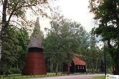 tm_5706 (Tidaholms Museum) Tags: färgat positiv kyrka klockstapel exteriör byggnad landsväg
