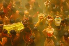 Yellow Gulal Over Shri Dauji Temple, Chhabria India (AdamCohn) Tags: 017kmtobaldevinuttarpradeshindia abeer adamcohn baldev chhabria india shridaujitemple uttarpradesh colors geo:lat=27408346 geo:lon=77821919 geotagged gulal holi play wwwadamcohncom अबीर गुलाल baldeo