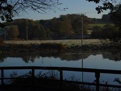 A little light frost (Phil Gayton) Tags: fence water field sky telegraph pole snipe island river dart totnes devon uk