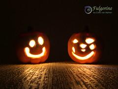 Mixed media polymer clay jack-o-lanterns (Fulgorine) Tags: polymerclay mixedmedia tealight lantern jackolantern halloween pumpkin