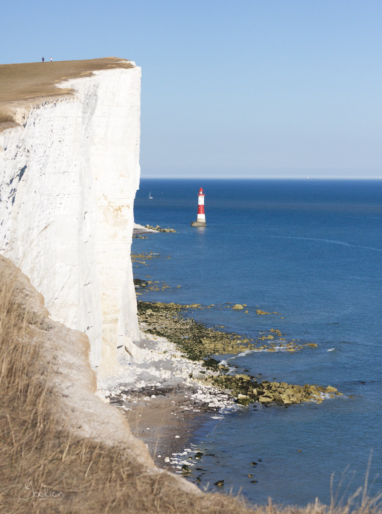 Beachy Head, white cliffs and lighthouse