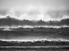 Face off (kate beale) Tags: surfing surf waves seaspray oceanbeach sanfrancisco winterwaves surfphotography surfingphotography bigsurf silhouette surfer blackandwhite monochrome bnw californiacoast sanfranciscosurfing sanfranciscosurf