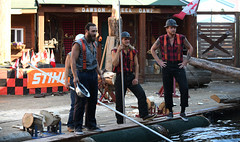 Explaining The Rules. (Anthony Mark Images) Tags: people portrait male lumberjacks americanteam canadianteam hardhats logrollingcompetition challenge game sport fun excitement greatlumberjackshow ketchikan alaska usa 49thstate canadianflags dawsoncreekcamp logs saws nikon d850
