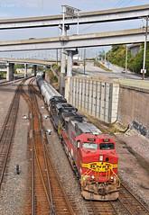 "Southbound Manifest in Kansas City, MO (""Righteous"" Grant G.) Tags: bnsf railway railroad locomotive train trains south southbound ns norfolk southern atsf santa fe ge emd power manifest freight kansas city missouri"