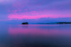 sunset 7790 (junjiaoyama) Tags: japan sunset sky light cloud weather landscape pink blue contrast color bright lake island water nature autumn fall calm dusk serene reflection bluehour