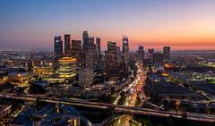 Downtown Los Angeles Skyline (STERLINGDAVISPHOTO) Tags: downtownlosangeles dtla twilight freeways latraffic highrise skyscraper losangelesskyline aerialphotography aerialview cityscape urbanlandscape urbandevelopment
