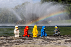 Exploration (#64) - Fountain and rainbow (Ballou34) Tags: 2018 7dmark2 7dmarkii 7d2 7dii afol ballou34 canon canon7dmarkii canon7dii eos eos7dmarkii eos7d2 eos7dii flickr lego legographer legography minifigures photography stuckinplastic toy toyphotography toys maincy îledefrance france fr stuck in plastic classic space white red yellow blue silver exploration rainbow fountain water sun