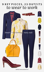 23 Workwear Outfits From 9 Key Pieces Perfect for a Creative Office: Smart - Not Boring - Navy Suit | Not Dressed As Lamb, over 40 style (Not Dressed As Lamb) Tags: ways wear style outfit outfits ootd workwear office chic creative job interview suit