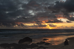 Sunrise at the Beach (armct) Tags: sunrise horizon skyline rocks basalt morning surf surfbeach waves shoreline observer watcher spectator crepuscular rays sunbeams reflection currumbin gold coast queensland golden clouds