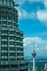 View of Petronas Tower 1 and KL Tower in Kuala Lumpur