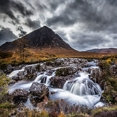 Buachaille Etive Mor and the waterfall (petebristo) Tags: landscape scotland glencoe waterscape waterfall