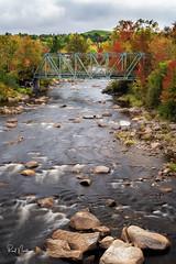 New Hampshire - Autumn Bridge (Reid Northrup) Tags: river stream bridge mountains newhampshire whitemountains reidnorthrup nikon landscape rrs water rocks longexposure autumn fall trees clouds