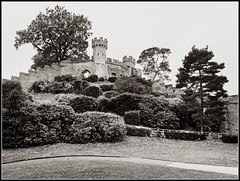 Warwick Castle, Northern Tower (Jason 87030) Tags: northern tower warwick warwickshire warks bw bbw blackandwhite tones mono tree fortress walls army war black noir blanc white monoo frame border composition uk england november dayout weather dull trees hill path stone defence lookout
