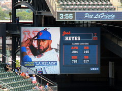 """Citi Field, 08/26/18 (NYM v. WAS): Jose Reyes at-bat graphics, including his Players' Weekend nickname (""""La Melaza""""), as shown in the bottom of the 8th inning (IMG_3073a) (Gary Dunaier) Tags: baseball stadiums stadia ballparks mets newyorkmets flushing queens newyorkcity queenscounty queensboro queensborough citifield"""