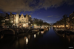 Amsterdam. (alamsterdam) Tags: clouds canal brouwersgracht evening longexposure reflections architecture houseboats bridge bikes cars cafepapeneiland