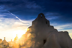 Touched (Katja van der Kwast) Tags: 2018 griekenland greece cyclades cycladen mykonos island eiland church kerk white wit cross kruis sunset zonsondergang bokeh