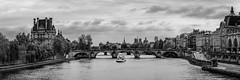 View of Pont Royal, Paris, 2015 (KSWest) Tags: 2015 copyright copyright©2015 on1 structure vehicle architecture blackwhite boat bridge cityscape historic landmark landscape lightroom photoshop travel ©kswest ©stevewest ©stevenwest paris france fra clouds panorama flickr fineart bw nb