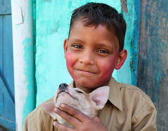 Kid and his Dog (F Image Gallery) Tags: kid india travel people faces smile dog animals happiness fimagegallery portrait agra street photography tenderness animal lovers