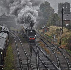 Great Central Railway Loughborough Leicestershire 14th October 2018 (loose_grip_99) Tags: greatcentral railway railroad rail train loughborough eastmidlands england uk steam engine locomotive smoke southern bulleid light pacific 462 34092 cityofwells preservation transportation autumn gala gassteam uksteam trains railways october 2018 rain