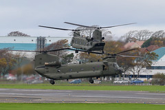 Pair of RAF Chinooks (Dougie Edmond) Tags: prestwick scotland unitedkingdom gb military helicopter airport pik egpk