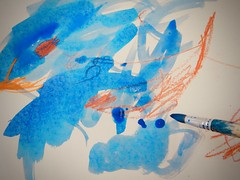 264/365: swimming in blue (Michiko.Fujii) Tags: blue blueisbest blueandorange themagicpaintbrush atelier atelierista childhood childsplay childrensart childrensimagination ink paintingwithpigment pigment youngchildrenspaintings
