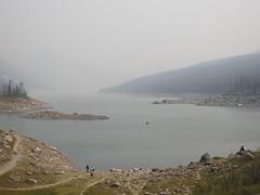 Medicine Lake in the smoke (pamfromcalgary) Tags: malignelakeroad scenery landscape forest forestfire jasper medicinelake