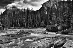 The Kicking Horse River Flowing By the Mountains at Natural Bridge (Black & White, Yoho National Park) (thor_mark ) Tags: nikond800e day3 triptoalbertaandbritishcolumbia kickinghorseriver naturalbridge mountdennis mountstephen lookingeast capturenx2edited colorefexpro silverefexpro2 blackwhite yohonationalpark outside nature landscape blueskieswithclouds rockymountains canadianrockies mountains mountainsindistance mountainsoffindistance hillsides hillsideoftrees evergreens trees hillsideofrocksandboulders boulders largerocks naturalbridgefalls river emeraldlakeroadarea alongemeraldlakeroad walkingaroundnaturalbridge southerncontinentalranges banfflakelouisecorearea bowrange portfolio project365 britishcolumbia canada