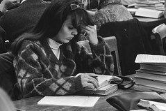 Des Moines Register Collection0747 (The Digital Shoebox) Tags: 1967 35mm december desmoines iowa newspaper film library negative nikon reading snapshot student study woman
