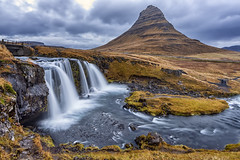 Kirkjufell Mountain (Simone Gramegna) Tags: kirkjufellsfoss kirkjufell snaefellsnes peninsula iceland europe winter autumn fall waterfall water silkywater silky mountain mountains grundarfjörður sunrise blue hour goldenhour