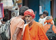 Focus (Frans Persoon) Tags: focus india man celebration orange older old varanasi