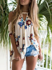 Floral Open Shoulder Cutout Casual Blouse (katalaynet) Tags: follow happy me fun photooftheday beautiful love friends