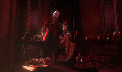 083. Bloodrites. (fashionmaul) Tags: red crimson vampire vampyre halloween blood scarlet throne sunlight sun flowers roses candles boy boi man men male menswear coat baby