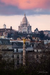 Place du Châtelet & Basilique du Sacré-Coeur de Montmartre, Paris (www.fromentinjulien.com) Tags: fromus75 fromus fromentinjulien fromentin flickr view exposure shot hdr dri manual blending digital raw photography photo art photoshop lightroom photomatix french francais light traitements effets effects world europe france paris parisien parisian capitale capital ville city town città cuida colocación monument history 2018 photographe photographer dslr eos canon 5d 5dmarkiv fullframe full frame ff 150600 150600mm tamron tamronlens 563 urban travel architecture cityscape poselongue longexposure rooftop sunset montmartre sacrecoeur basilique basilica placeduchatelet