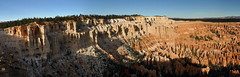 Bryce Canyon - Sunrise Panorama (Explored, 24 sept 2018, #316) (Drriss & Marrionn) Tags: travel utah usa landscape landscapes mountains desert rock rockformation ridge cliff cliffs mountainside canyon brycecanyon red sand mountain snow nature trees forest mountainrange rocks brycecanyonnationalpark pano panorama sky