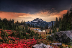 Mount Rainier National Park | Chinook Pass (Nature1844 Photography) Tags: mountrainiernationalpark chinookpass sunset clouds mountain volcano trees evergreen tarn rocks boulders scarlet autumn fallcolors outside evening dusk colours naturephotography fall september sky red nature landscape painterly pnw pacificnorthwest cascades breathtakinglandscapes fineart