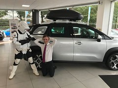 """The things that Stormtrooper will do to get a good deal on a new car! A Big """"Thank you' to Sue for brightening up our day on Saturday!! (Charters Citroen) Tags: citroen aldershot hampshire fleet surrey"""