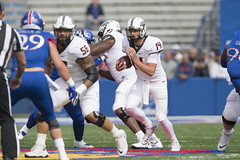 Kansas Jayhawks vs Oklahoma State Cowboys Football Game, Saturday, September 29, 2018, Memorial Stadium, Lawrence, KS.  Bruce Waterfield/OSU Athletics (OSUAthletics) Tags: 2018 athletics big12 cowboys football hawks jayhawks kansas ku oklahomastate oklahomastateuniversity osu pokes roadgame universityofkansas