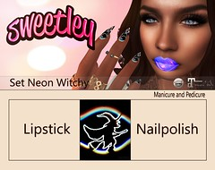 Set Neon Witchy (Sweetley SL) Tags: sweetley beauty makeup nail secondlife lipstick hud applier marketplace witch halloween mainshop bento catwa maitreya neon colorful new stylish holiday october costume