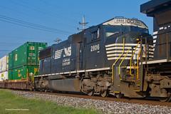 75M Trail Fail (tim_1522) Tags: railroad railfanning rail illinois il norfolksouthern ns brooklyn district intermodal doublestack generalelectric c449w emd sd75m lenoxtower